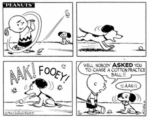 Charlie Brown and Snoopy practice a little golf