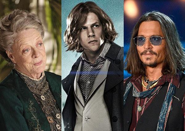 Maggie Smith, Jesse Eisenberg, Johnny Depp (Foto: Reprodução)