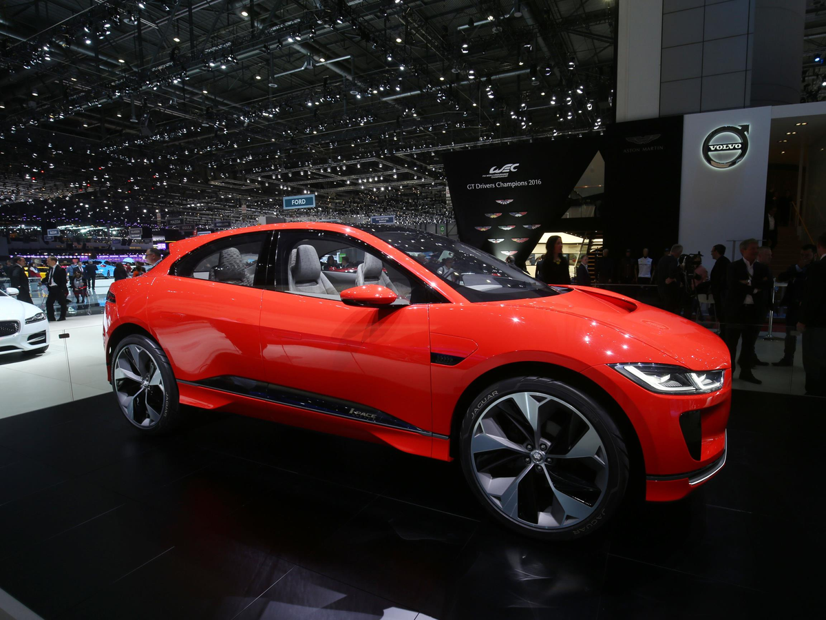 Jaguar displayed its I-PACE electric car, which debuted last year at the LA Auto Show.