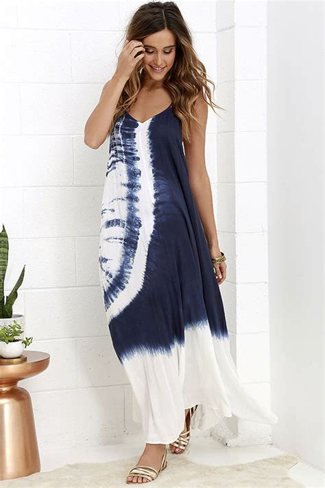 tie dye dress maxi dress ivory  navy blue dress