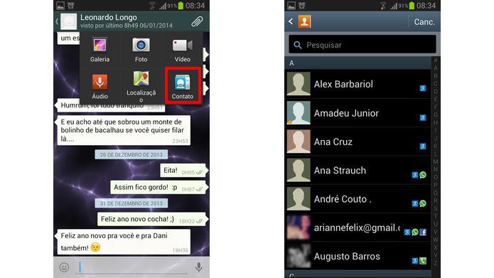 Aperte na opção em destaque e  selecione o contato desejado na agenda de seu dispositivo (Foto: Reprodução/Daniel Ribeiro)