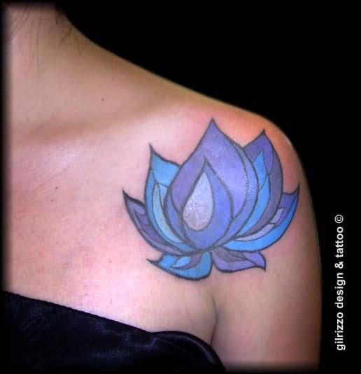 Blue Lotus Tattoo On Shoulder