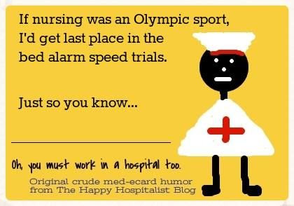 Olympic bed alarm speed trial nurse ecard humor