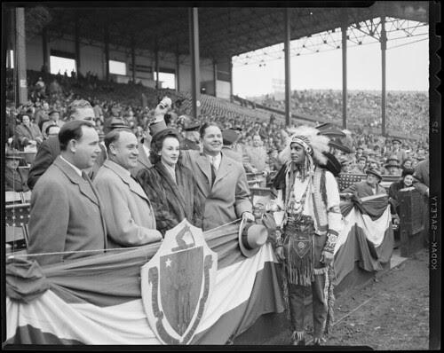 Braves mascot with dignitaries