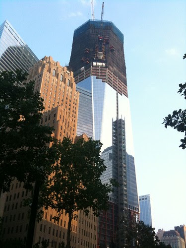 The rising Freedom Tower from the rear