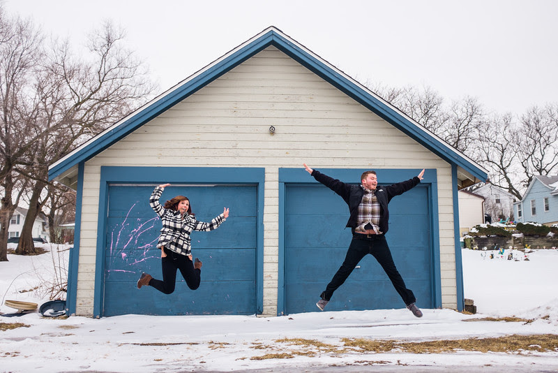 Photos began at Rockford Brewing Company with a beer and these two getting ready for their engagement photos. After Prairie Street Brewhouse, we took ventured downtown Rockford and utizlized many textures. We ended with a walk in the snow at Sinnissippi.