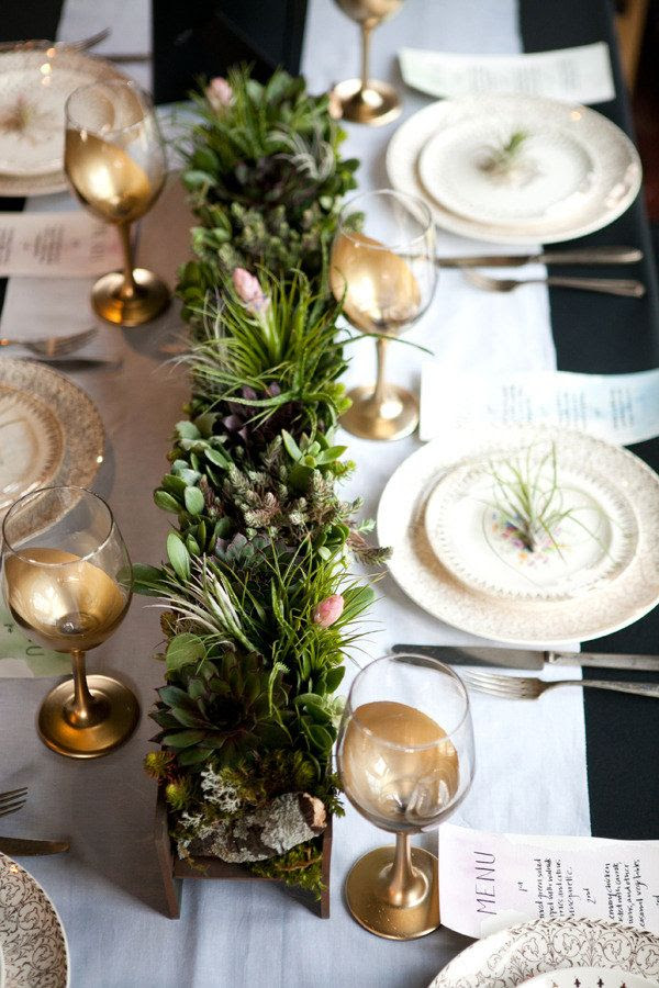 Air plant + succulent table runner.