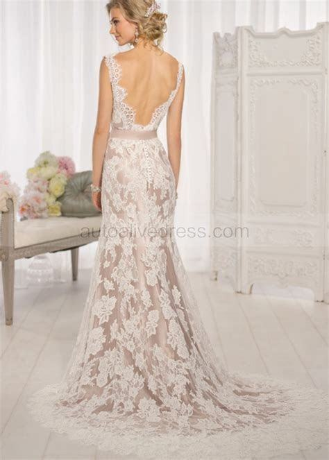 Ivory Lace Deep V Back With Champagne Lining Wedding Dress