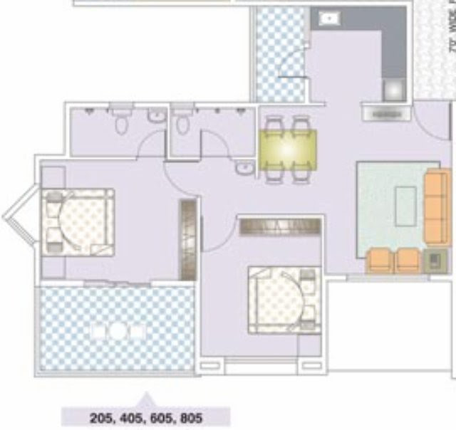 Nirman Viva 205 D - 2 BHK Flat - 629 Carpet + Terrace for Rs. 42, 98,800 + 5,000 Misc Charges + ST +VAT
