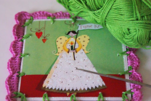 crochet around an old Christmas card