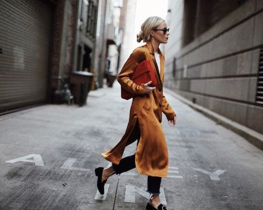 Le Fashion Blog Orange Silk Long Line Jacket White T Shirt Oversized Red Clutch Fall Outfit Via Happily Grey