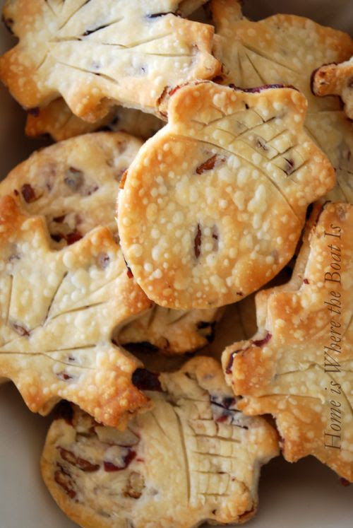 Cranberry and Pecan studded Pie Crust Leaves...great to top a turkey pot pie or as a tasty treat when sprinkled with sugar.