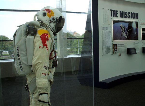 Felix Baumgartner's 'spacediver' flight suit on display at the California Science Center in Los Angeles, on October 13, 2013.