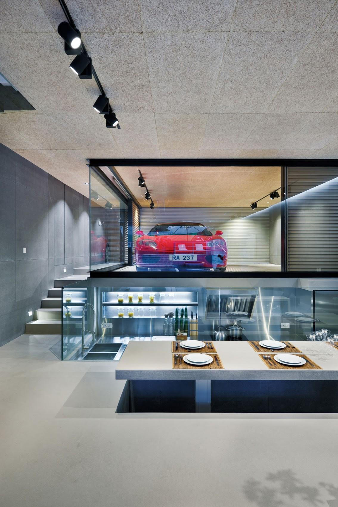 Modern Remodel in Hong Kong With A Ferrari As Focus