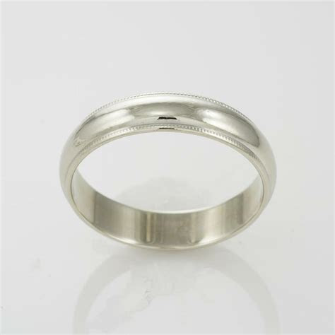 14k White Gold Men's Milgrain Wedding Band   Size 10   eBay