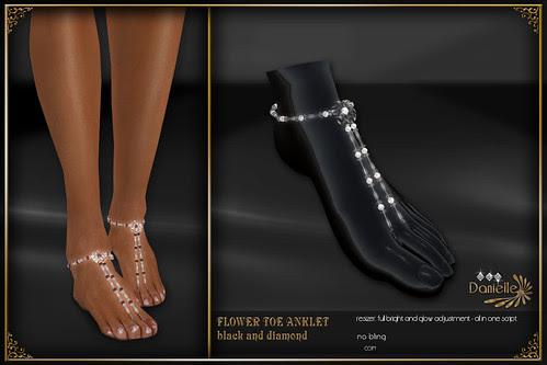 DANIELLE Flower Toe Anklet Black And Diamond