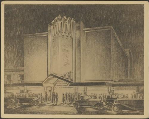 Exterior facade perspective of Romance Theatre, Melbourne, Victoria 1931