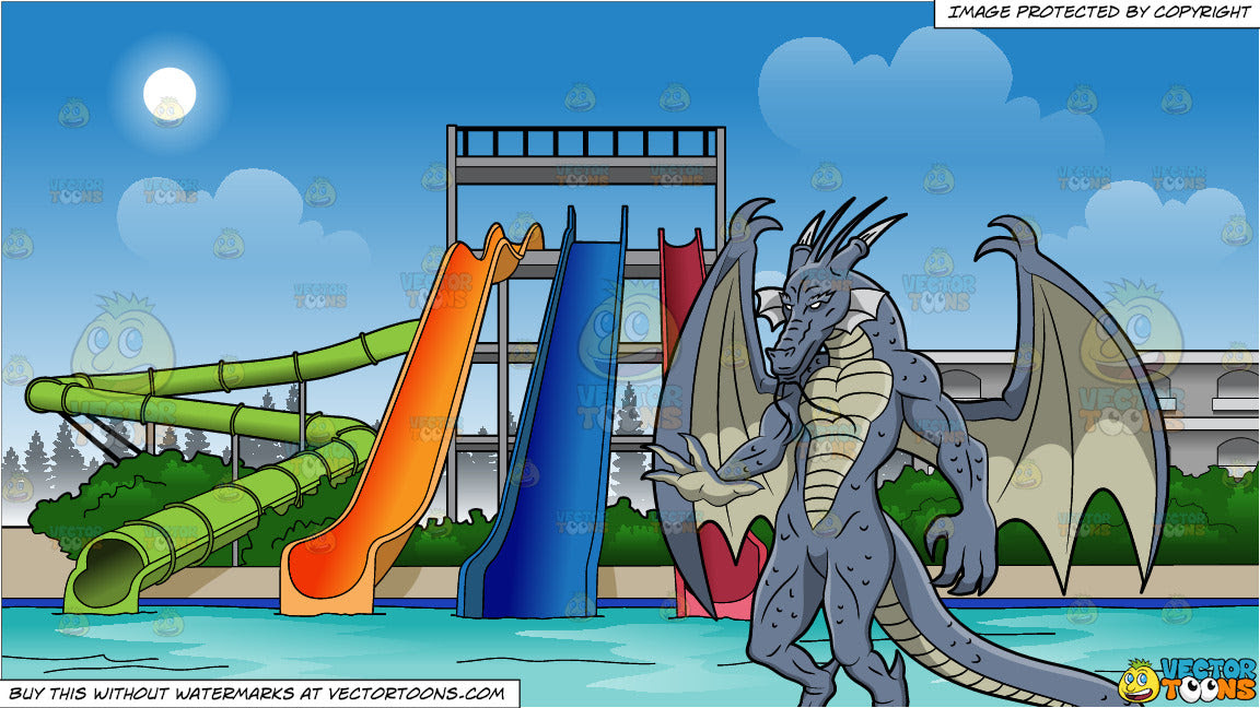 A Scary Blue Dragon And Water Park Slides Background Clipart Cartoons By Vectortoons