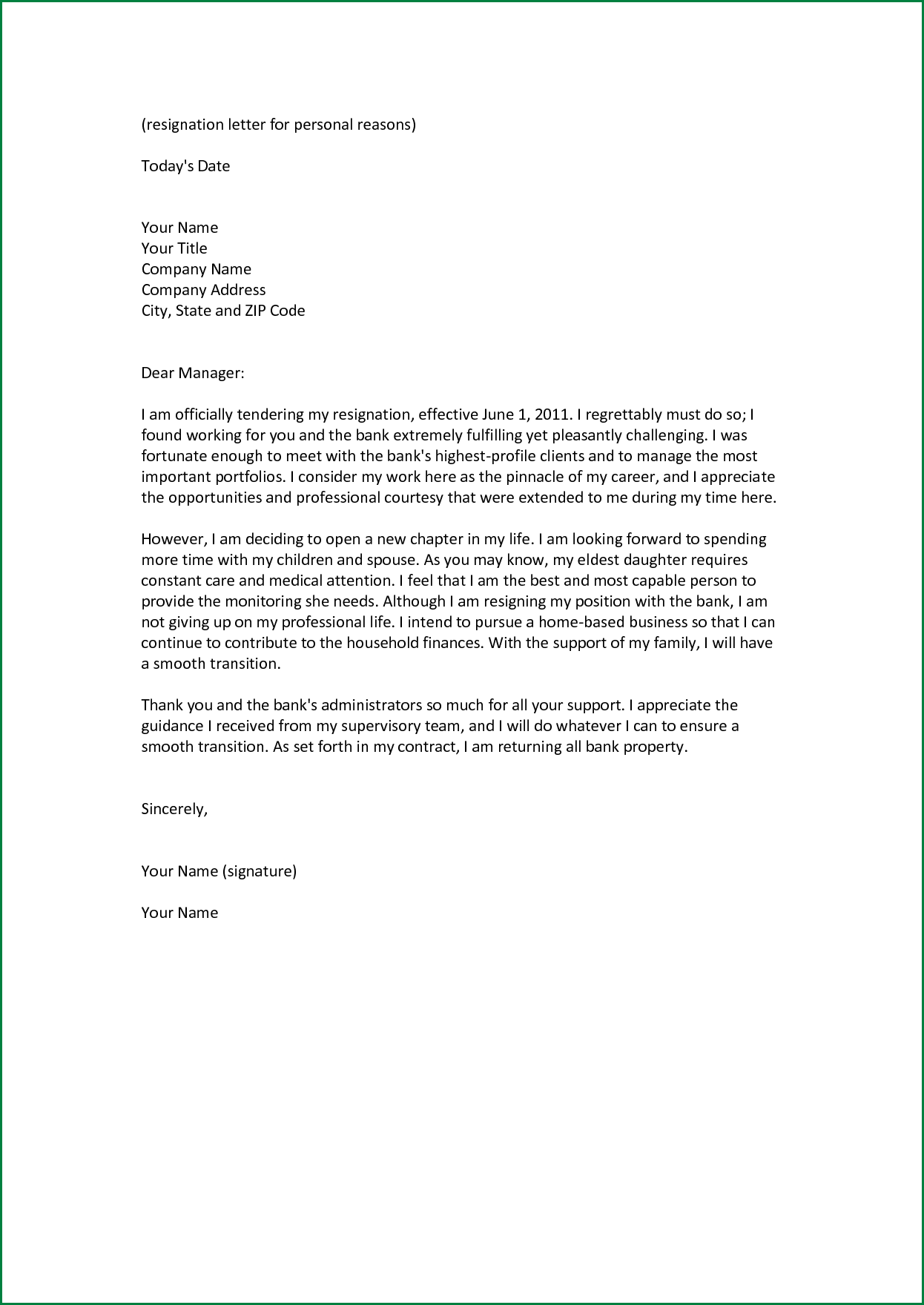 Free Sample Resignation Letter With Reason Resignation