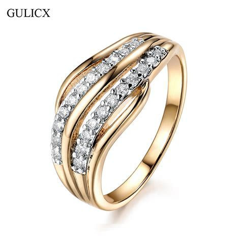 GULICX New Fashion Female Wedding Bands Jewelry Gold Color