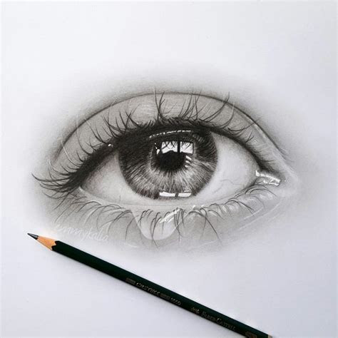 drawing  realistic eye   teardrop faber castell