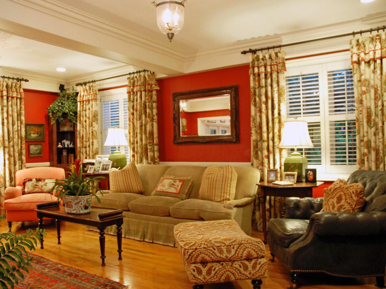 Burnt Orange And Brown Living Room - Modern House