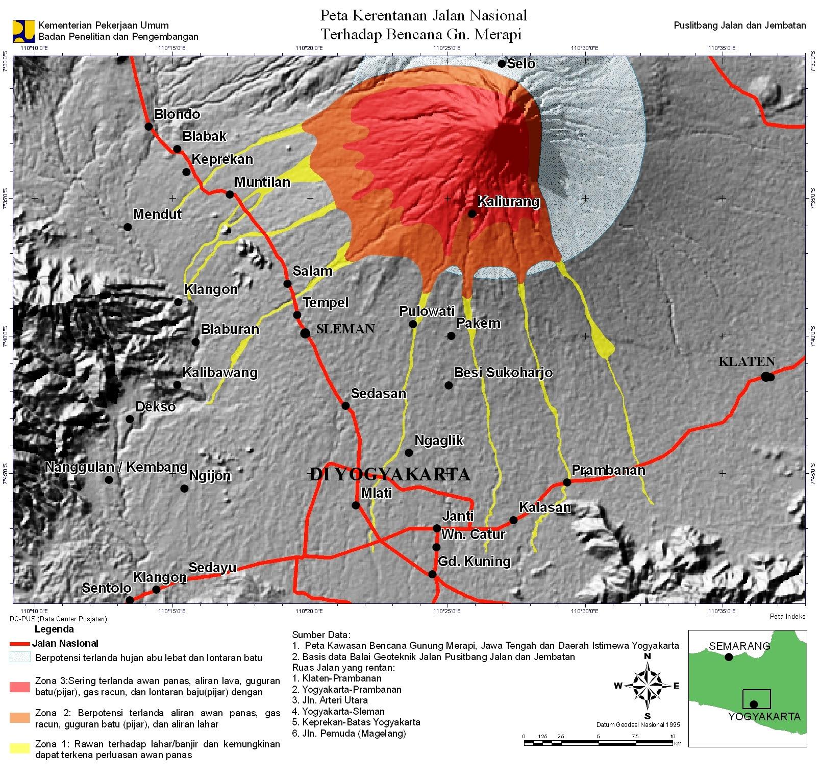 Carte de risques du volcan Merapi