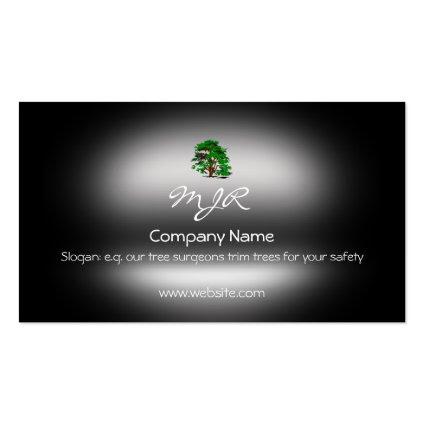 Monogram, Leafy Green Tree, metallic-effect Business Card Templates