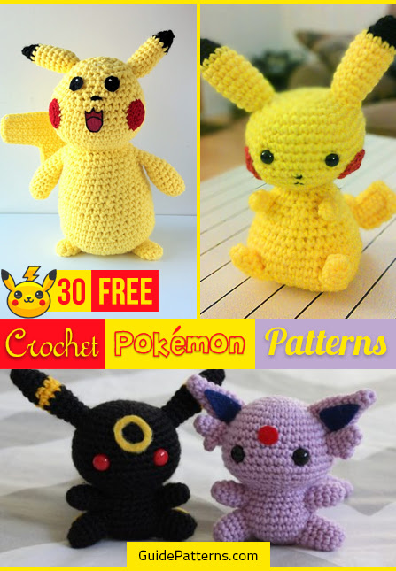 CROCHET PIKACHU & POKEBALL patterns set - Pokemon Amigurumi Pdf ... | 645x447