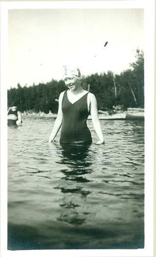 old bathing garb woman in pool