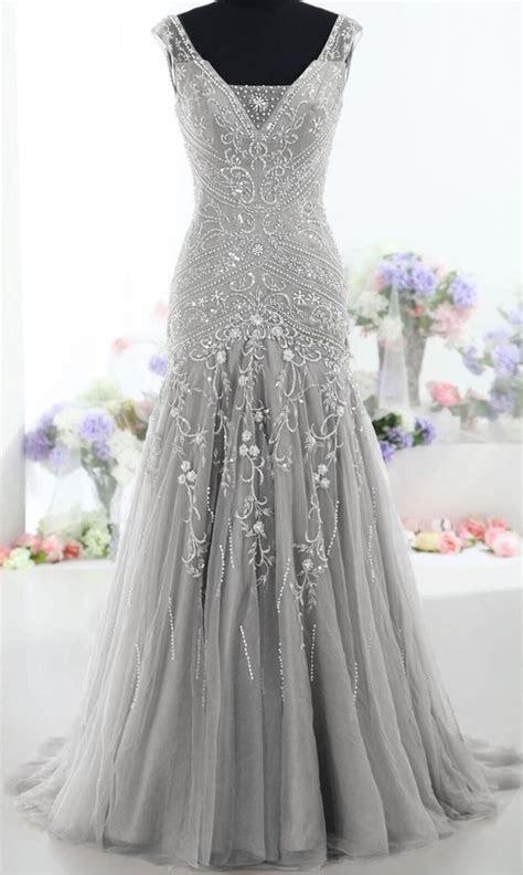 Pretty Gray Long Mermaid Beading Prom Dresses ,Charming