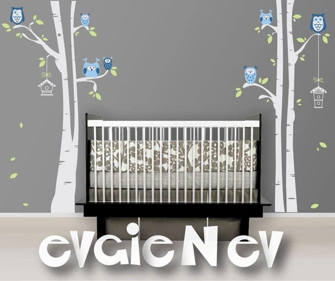 Owls On The Tree Wall Decals