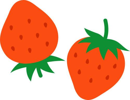 無料素材 2つのイチゴをデザインしたイラストやさしい色合いが