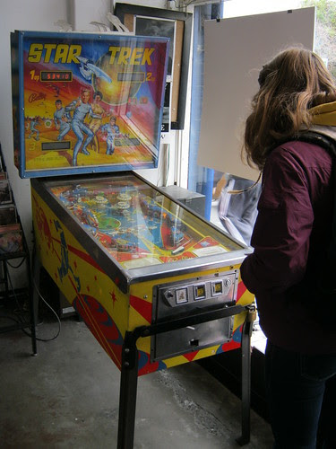 Claire playing Star Trek pinball!