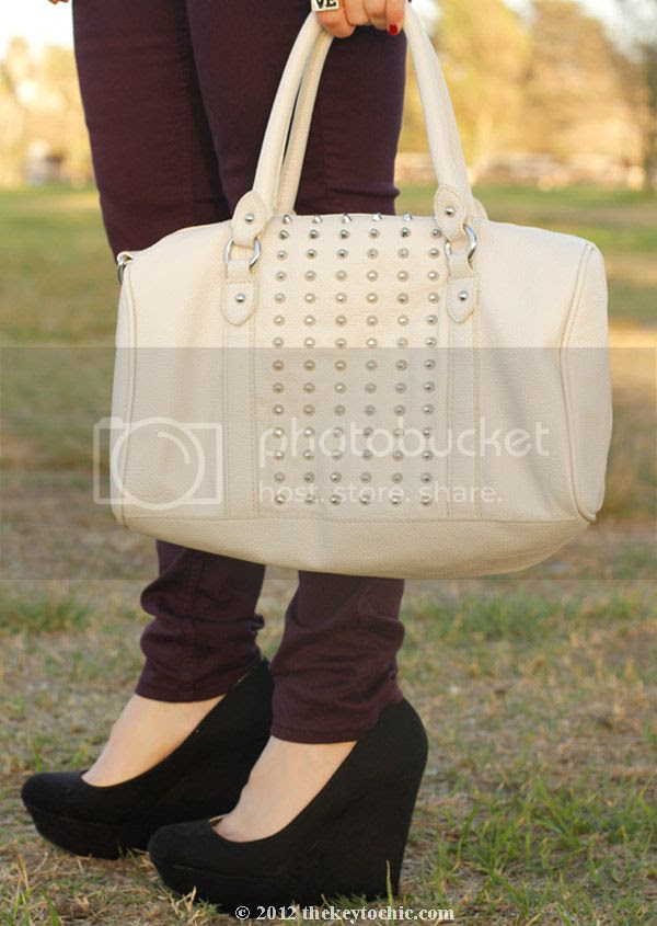 Rag & Bone wine skinny jeans, H&M studded white handbag, platform wedge pumps