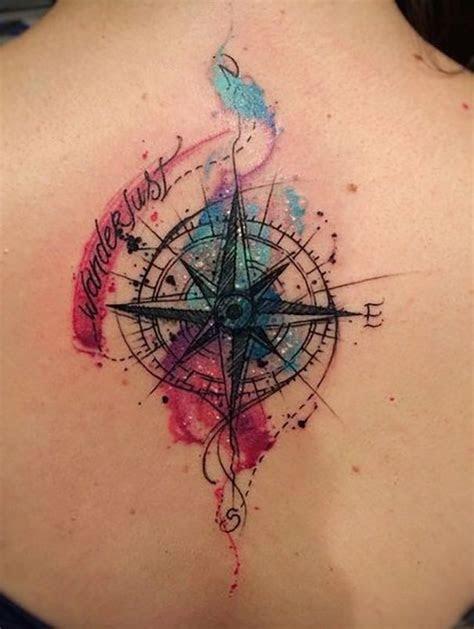 watercolor compass tattoo girl upper
