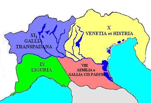 Gallia Cisalpina, suddivisione in province romane