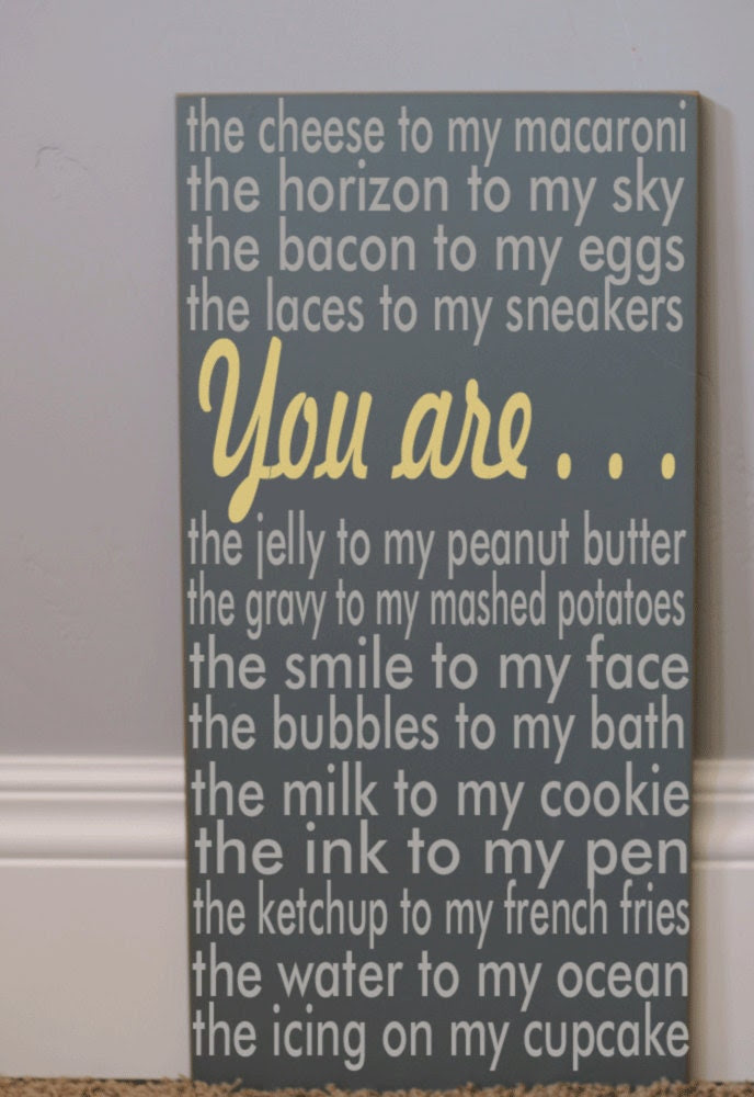 Subway Art Typography Word Art Sign -  You Are My Macaroni - Your Choice of Color