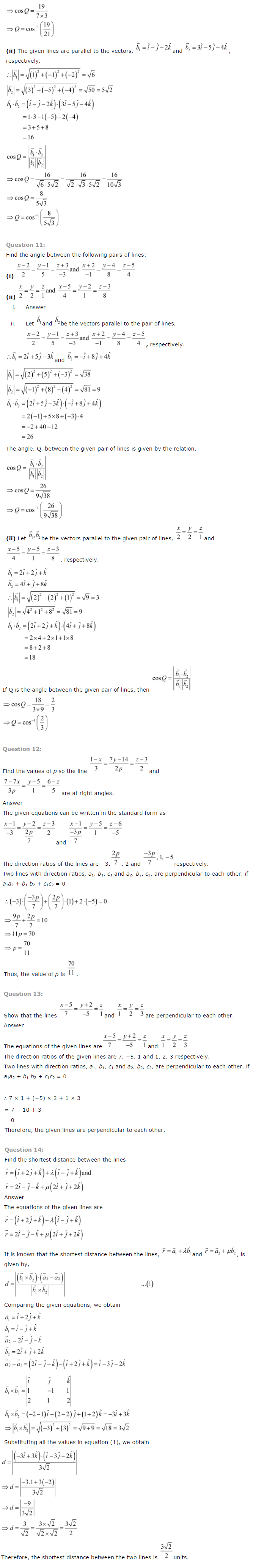 NCERT Solutions for Class 12 Maths Chapter 11 Three Dimensional Geometry ex 11.3