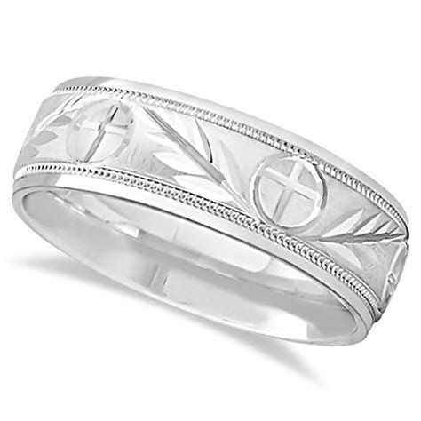 Men's Christian Leaf and Cross Wedding Band 14k White Gold