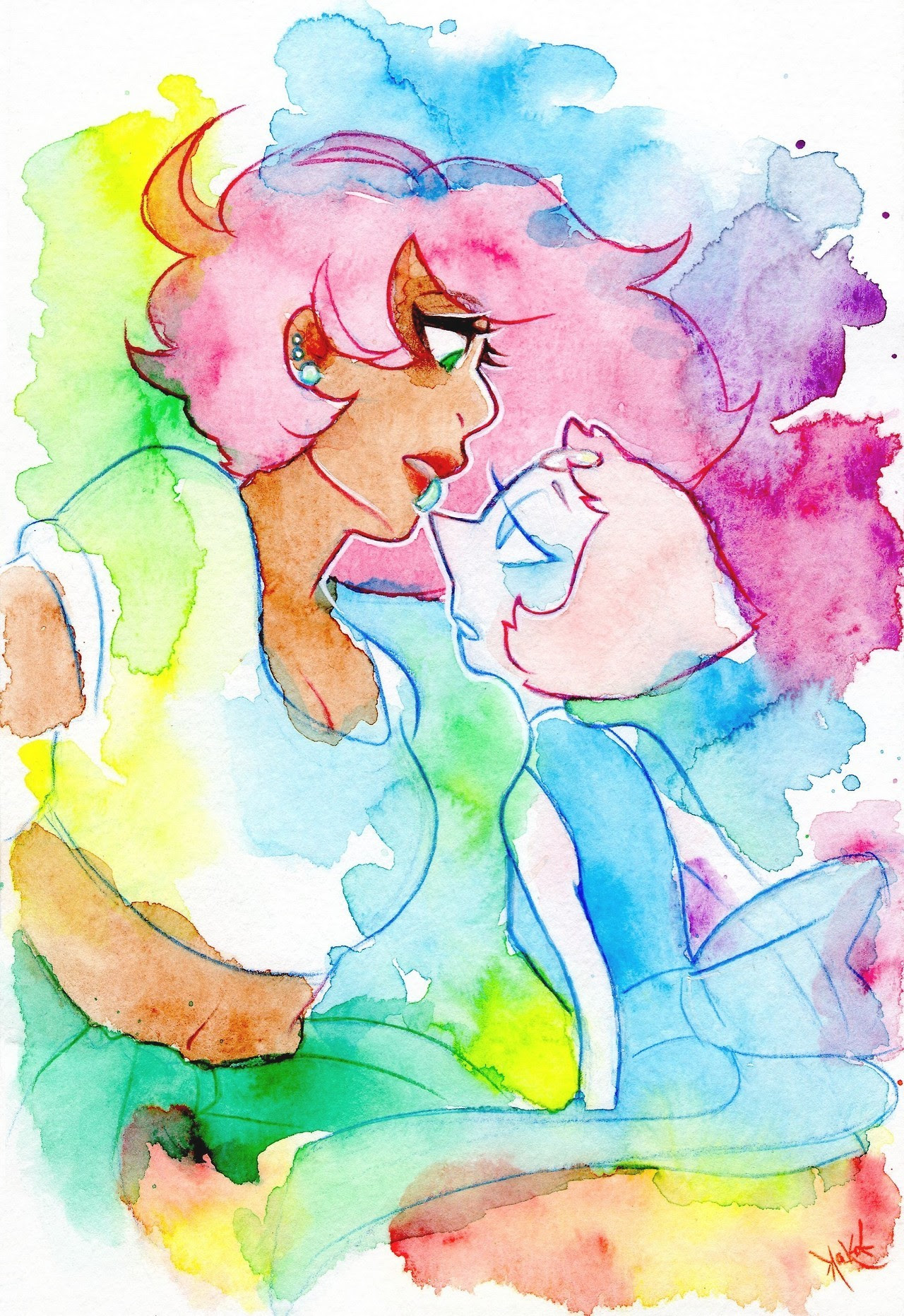 ♪ ~   Don't mind me remembering childhood memories. I tried something new with watercolors. 10/10 would do it again.