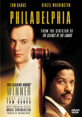 Cartel del film Filadelfia, con los rostros de los actores Tom Hanks y Denzel Washington.
