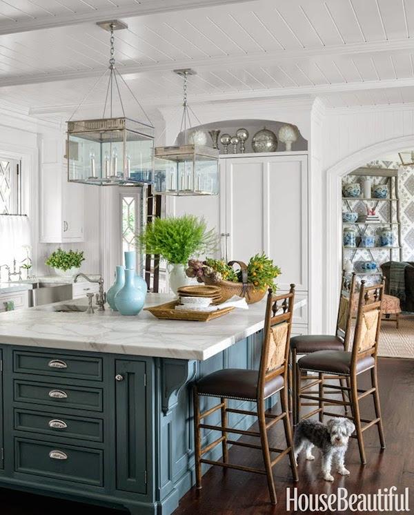 Blue Kitchen Island - Lee Ann Thornton Interiors