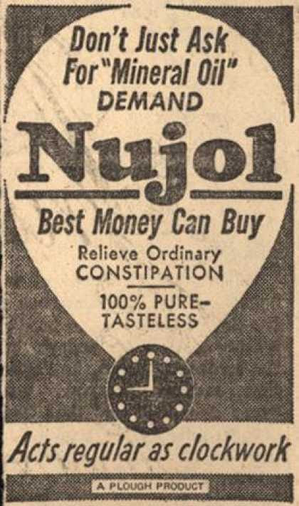 "Plough's Nujol – Don't Just Ask For ""Mineral Oil"" Demand Nujol (1958)"