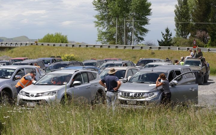 About 50 motorists were waiting at the inland route checkpoint on Friday afternoon,