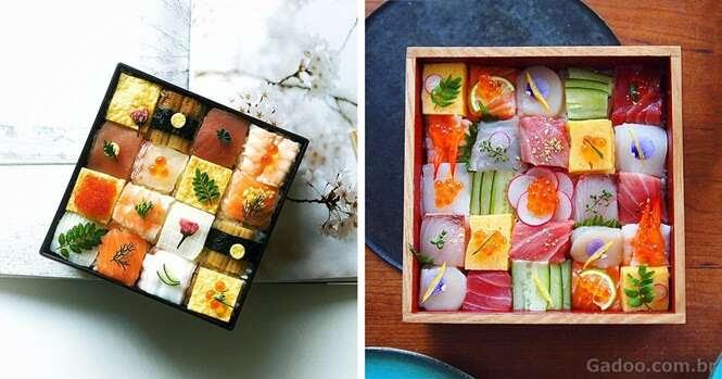 Mosaicos de sushi se tornam sensação no Japão