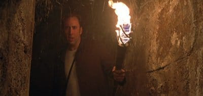 Nicholas Cage with the torch of Lucifer