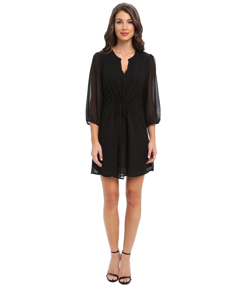 Christin Michaels - Shyloh Chiffon Dress with Waist Tie (Black) Women's Dress