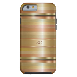 Metallic Gold And Copper Stripes Pattern Monogram Tough iPhone 6 Case