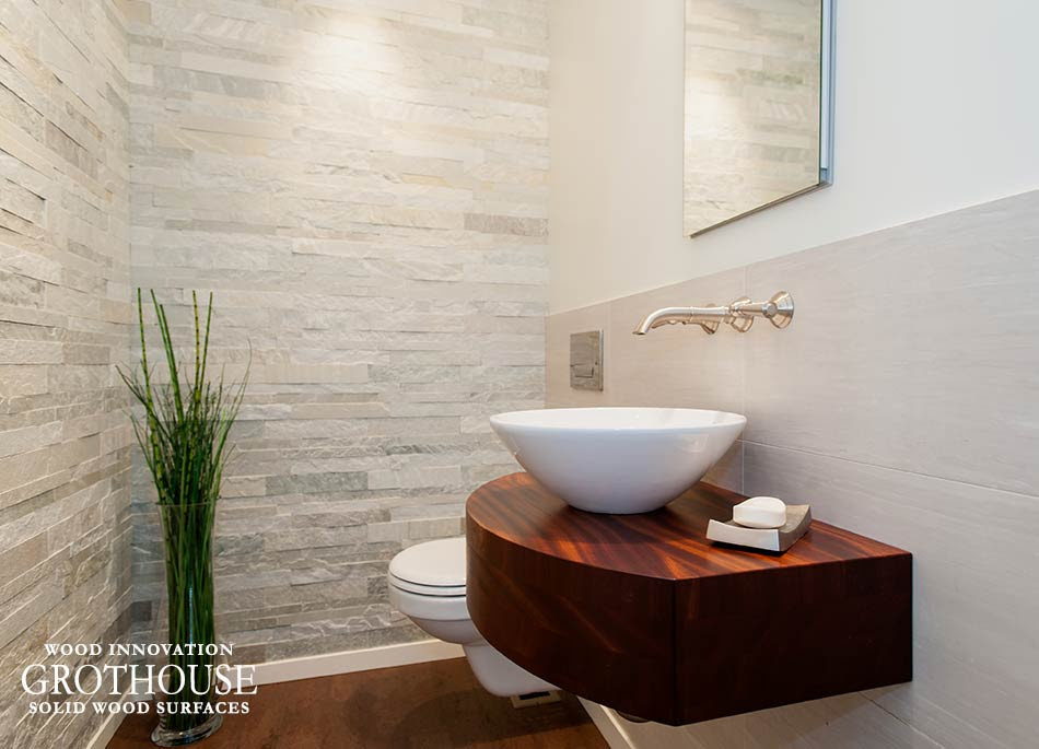 Vessel Sinks On Wood Bathroom Countertops Custom Made By Grothouse